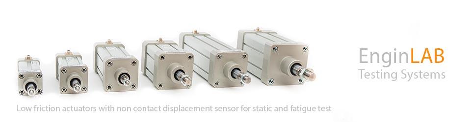 Attuatori a basso attrito per test di fatica con sensore di spostamento integrato