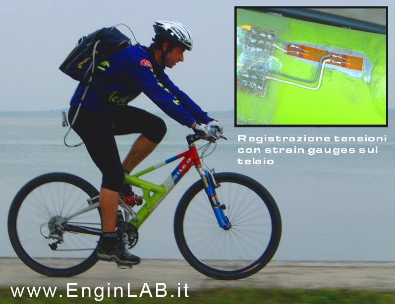 misure estensimetriche su bici con strain gage